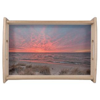 Zonsondergang in December op Meer Michigan Dienblad