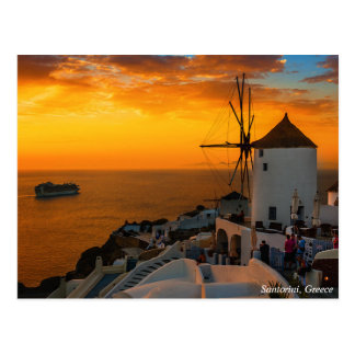 Zonsondergang in Santorini, Briefkaart Griekenland