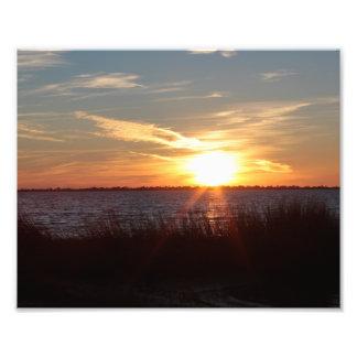 Zonsondergang op Eiland Chincoteague Foto Afdruk