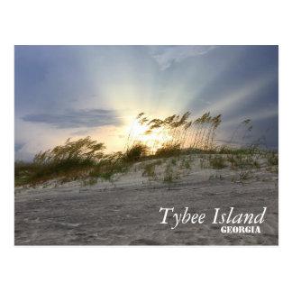 Zonsondergang op Tybee Eiland, Georgië Briefkaart