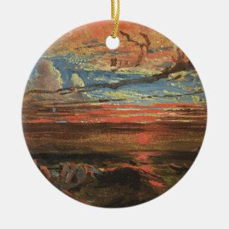Zonsondergang op zee na een Storm (olie op Rond Keramisch Ornament