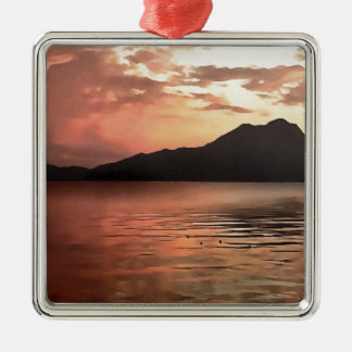 Zonsondergang op zee zilverkleurig vierkant ornament
