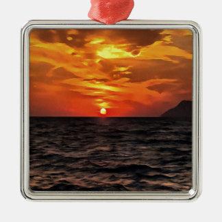 Zonsondergang over de Middellandse Zee Zilverkleurig Vierkant Ornament