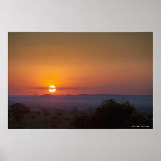 Zonsondergang over het Afrikaanse Landschap Poster