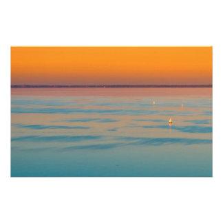 Zonsondergang over het meer Balaton, Hongarije Briefpapier
