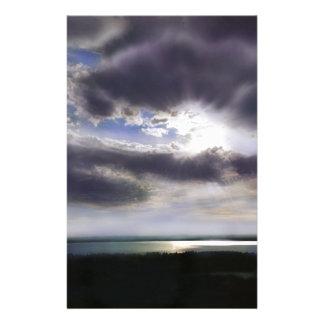 Zonsondergang over het meer briefpapier