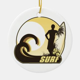 Zonsondergang Surfer Rond Keramisch Ornament