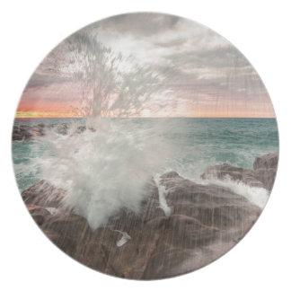 Zonsondergang van een rotsachtig strand melamine+bord