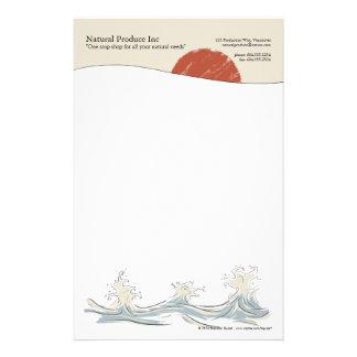 Zonsopgang met het briefhoofd van de waterplons briefpapier ontwerp