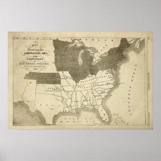 Zuidelijke Staten 1861 de Druk van de Kaart Poster
