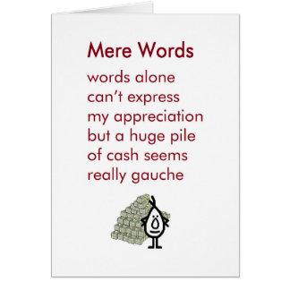 Zuivere Woorden - grappig dankt u gedicht Wenskaart