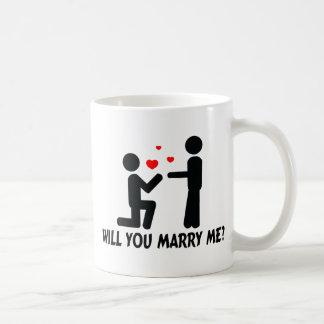 Zult u me het Man van de Knie Bended & Man huwen Koffiemok