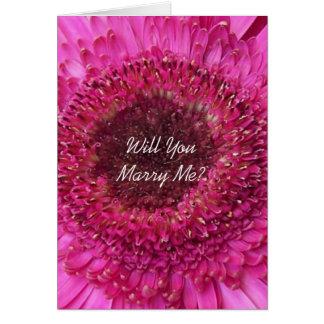 Zult u me Kaart Roze Gerbera huwen