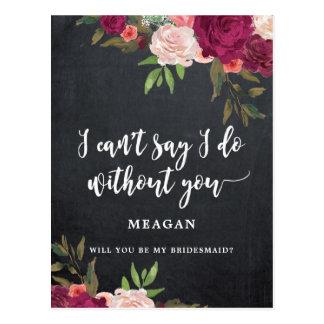 Zult u mijn boho van de bruidsmeisjekaart bloemen briefkaart