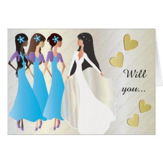 Zult u Mijn Bruidsmeisje in Blauw & Paars zijn Kaart