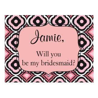 Zult u mijn bruidsmeisje roze en zwarte briefkaart
