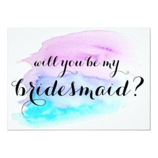 Zult u mijn bruidsmeisje zijn? Blauwe Paarse 12,7x17,8 Uitnodiging Kaart