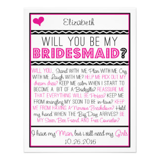 Zult u mijn Bruidsmeisje zijn? De roze/Zwarte Kaar Persoonlijke Aankondiging