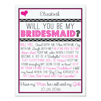 Zult u mijn Bruidsmeisje zijn? De roze/Zwarte 10,8x13,9 Uitnodiging Kaart
