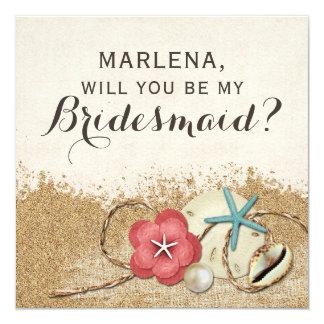 Zult u Mijn Bruidsmeisje zijn? Het zandige 13,3x13,3 Vierkante Uitnodiging Kaart