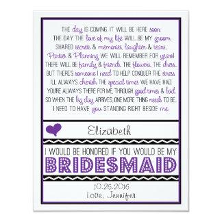 Zult u mijn Bruidsmeisje zijn? Paars/Zwart Gedicht 10,8x13,9 Uitnodiging Kaart