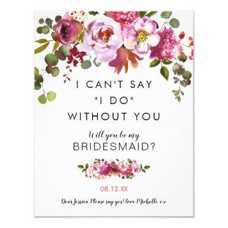 Zult u mijn Bruidsmeisje zijn | Roze Bloemen Kaart