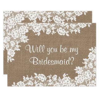 Zult u Mijn Bruidsmeisje zijn? Rustieke Jute & Kaart