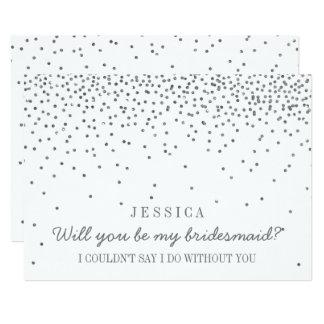 Zult u Mijn Bruidsmeisje zijn? Vintage Zilveren Kaart
