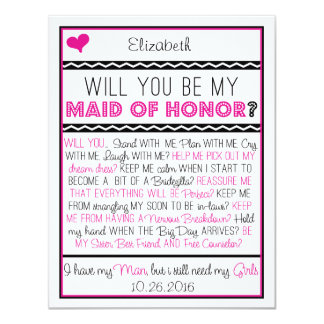 Zult u mijn Eerste bruidsmeisje zijn? Roze/Zwarte 10,8x13,9 Uitnodiging Kaart
