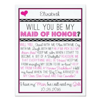 Zult u mijn Eerste bruidsmeisje zijn? Roze/Zwarte Kaart