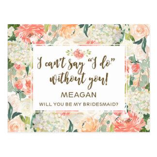 Zult u mijn gepersonaliseerde bruidsmeisjekaart briefkaart