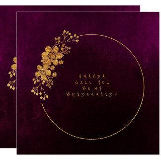 Zult u Mijn Gouden Fluweel Burgunde van het 13,3x13,3 Vierkante Uitnodiging Kaart
