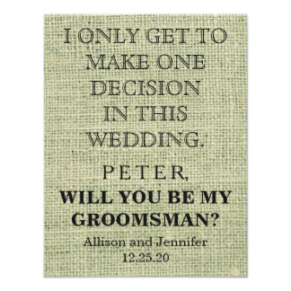 Zult u mijn Groomsman zijn? Gepersonaliseerd 10,8x13,9 Uitnodiging Kaart