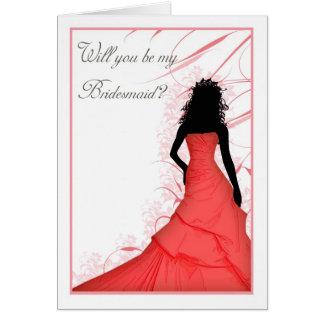 zult u mijn rode mengsels van het Bruidsmeisje Kaart
