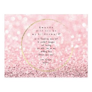 Zult u Mijn Roze van het Bruidsmeisje toenam Goud Briefkaart