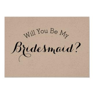 Zult u Mijn Rustieke Kaart van het Bruidsmeisje,