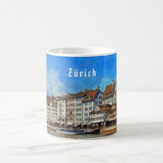 Zürich. Uitzicht van de Limmat rivierdijk Koffiemok
