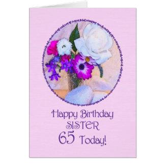 Zuster, 65ste verjaardag met geschilderde bloemen wenskaart