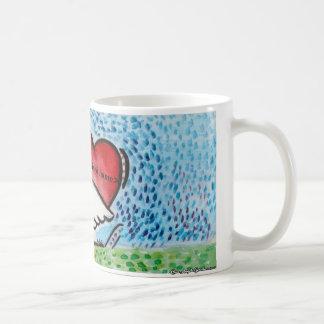Zwaan die een hart op zijn rug houden koffiemok