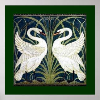 Zwaan en Stormloop en het behang van de Iris met Poster