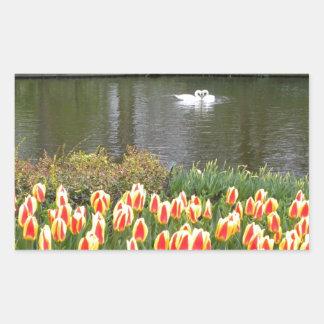 Zwanen door een meer met tulpen, Keukenhof Rechthoekvormige Stickers