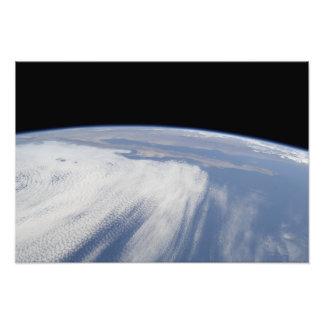 Zware wolkendekking over de Vreedzame Oceaan Foto Afdruk