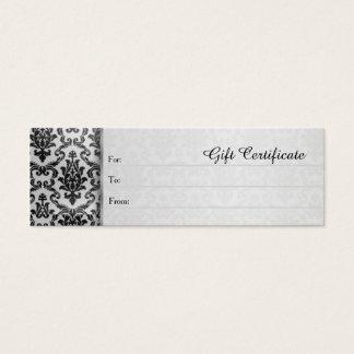 Zwart damast op het zilveren grijze Certificaat Mini Visitekaartjes