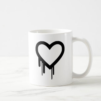 Zwart Druipend hart Heartbleed Koffiemok