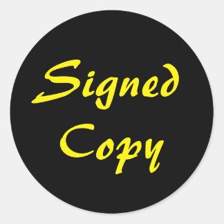 Zwart en Geel Ondertekend Exemplaar Ronde Sticker