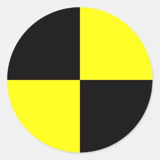 Zwart en gele de test proefstickers | van de ronde sticker