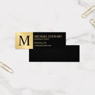 Zwart en Gouden Elegant Monogram Mini Visitekaartjes