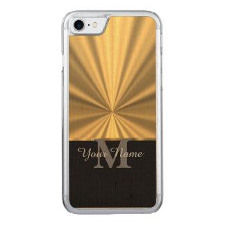 Zwart en gouden metaalmonogram Carved iPhone 8/7 hoesje