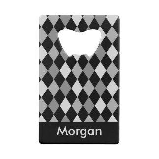 Zwart en Grijs diamant geometrisch ontwerp Creditkaart Flessenopener