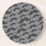 Zwart en grijs trendy grappig snorpatroon onderzetter voor drinken